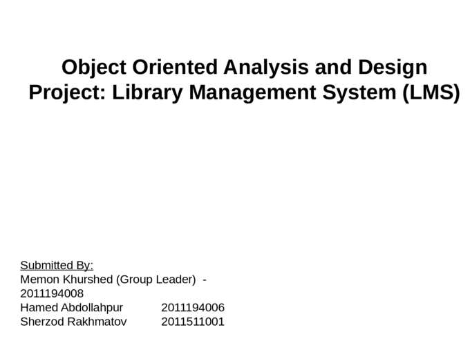 Object Oriented Analysis And Design Project Library